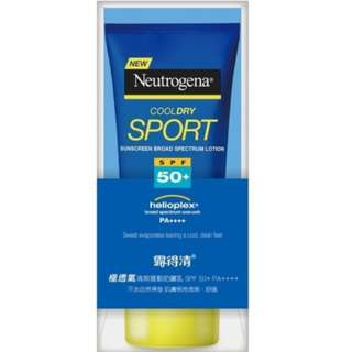 NEUTROGENA Sport Cool dry Sunscreen Broad Spectrum Lotion SPF 50 Helioplex UVA UVB