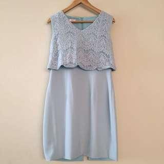 Lace soft Blue Dress