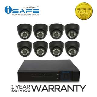 iSAFE HD8CHKITP8-DOME High-Definition Security System CCTV Kit with 8 PCS 1.0-Mega Pixel Dome Type Camera and 8 Channel High quality DVR, High-Definition Night-Vision, Smart Phone & IOS remote View Access (Black)