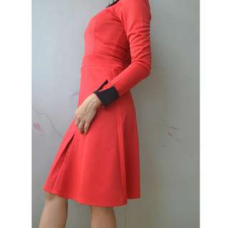 Dress Red Merah Freesize fit to S,M Karet