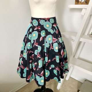 Marc Jacobs Skirt Floral Navy Blue Pink Size 4 Stitched Waistband