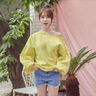Yellow pastel off shoulder sweatshirt pullover long sleeve top