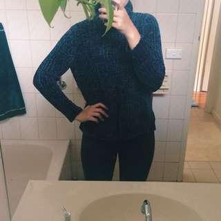 Navy Velvet Knit Sweater