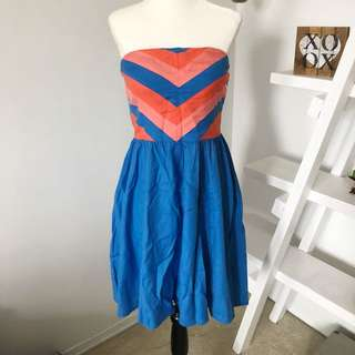NWT New Urban Outfitters Cooperative Dress Size 8 Chevron Blue Pink Orange Strapless