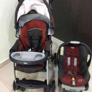 Chicco Keyfit 30 Infant Car Seat & Cortina Stroller (Come with Base)