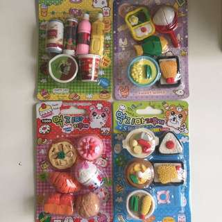 Food sushi milk bottle cake pizza erasers rubber