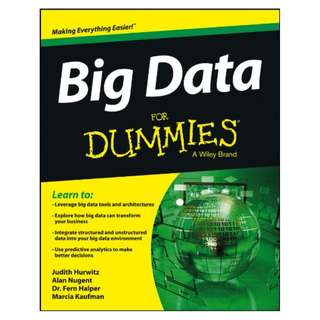Big Data For Dummies BY Judith Hurwitz  (Author), Alan Nugent  (Author), Fern Halper (Author), Marcia Kaufman  (Author)