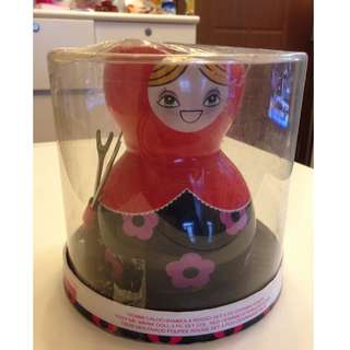 Brandani Red Russian Doll Fondue Set