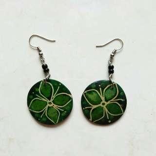 Red / Green Wooden Earrings
