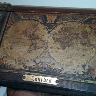 Antique Lourdes jewell box wooden  collectables a very rare design of the mid 1900s