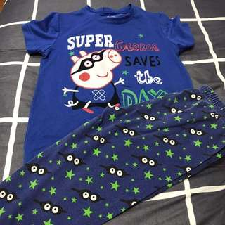 Blue short sleeves kid's pajamas