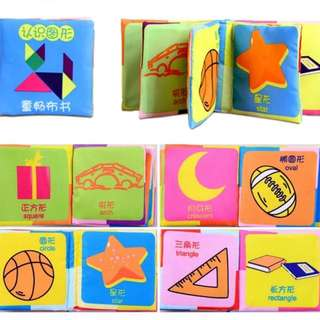 Shapes washable fabric cloth book