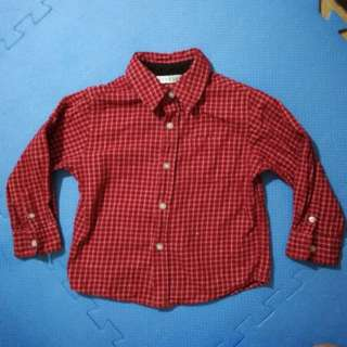 Red Long sleeves Plaid Polo for boys