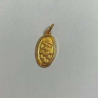 Gold Plated Oval Rabbit Pendant鍍金兔吊咀