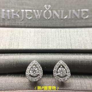 18K 白金 鑽石 水滴 耳環