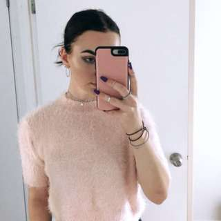 Fluffy Pink Cropped Jumper