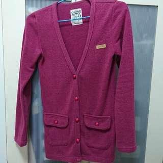 🚚 台灣原創品牌紫紅色長版針織羊毛外套