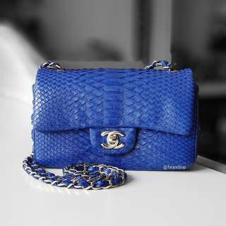 Authentic Chanel Python Mini Classic Flap Bag
