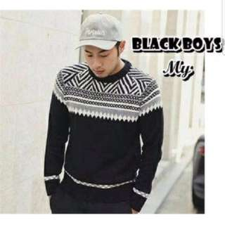 Sweater Rajut Tribal Hitam