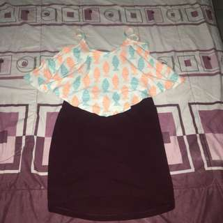 Mix n Match: Pastel Fish Tank + H&M Maroon Bodycon Skirt