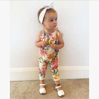 ✔️STOCK - WILD FLORAL BLUE BABY TODDLER GIRL CASUAL JUMPSUIT ROMPER KIDS CHILDREN CLOTHING