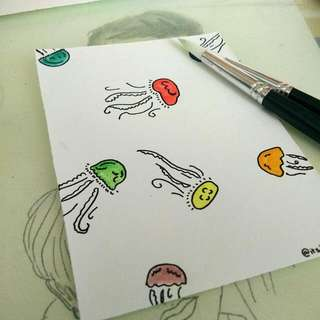 Jellyfish Watercolor Card