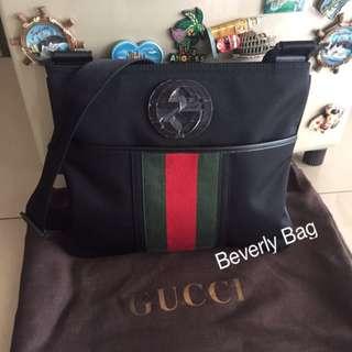 jual tas Gucci Slingbag Logo LEATHER MIRROR - black