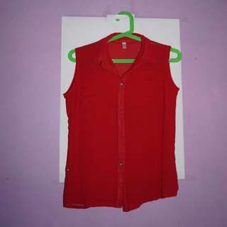 Sleeveless Red Polo