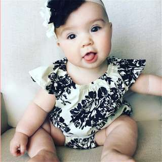 ✔️STOCK - BLACK FLORAL NEWBORN BABY TODDLER GIRL CASUAL ROMPER KIDS CHILDREN CLOTHING