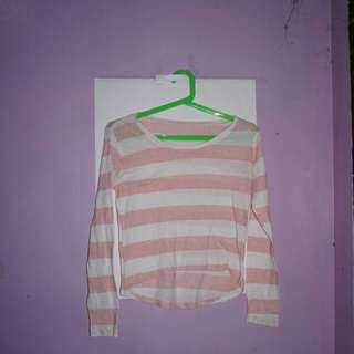 Pink and white stripes longback