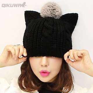 🚚 Minimei追加款✪帽子女冬天韓版潮可愛蝴蝶結毛線帽女加厚百搭貓耳朵針織帽護耳帽
