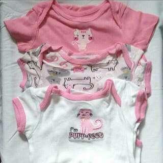 Onesies Bundle: 3pcs Baby Girl Onesies (Cat Design)