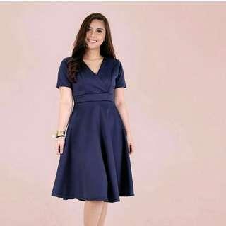 Navy Blue Overlap Midi Dress