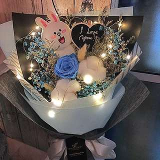 Preserved Fresh Rose With Dried Flowers & Cony Bouquet(With LED Lighting)