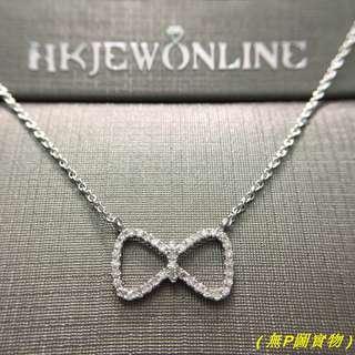 18K 白金 鑽石 蝴蝶結 頸鍊 (16+1吋)
