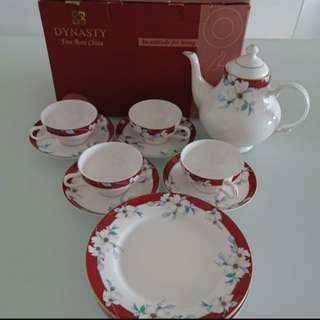 (包送貨)香港製Dynasty骨陶瓷茶具套裝China bone tea set