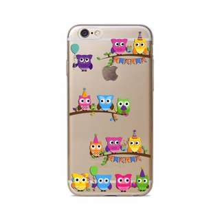 Thin Clear Soft TPU Rubber Case Cover iphone 6 6s owl
