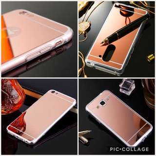 MIRROR CASE FOR IPHONE SAMSUNG OPPO VIVO (ROSEGOLD)