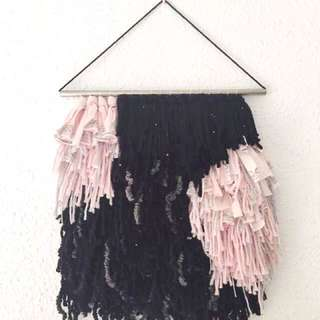 Handwoven wall Hanging - pink and black