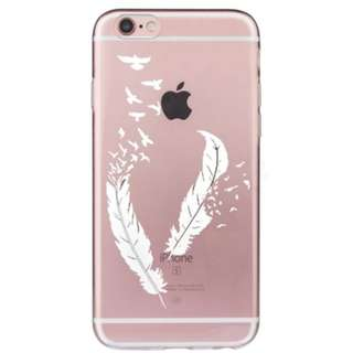 Thin Clear Soft TPU Rubber Case Cover iphone 8 8 plus feather