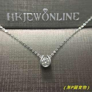 18K 白金 鑽石 吊咀 (連鏈)