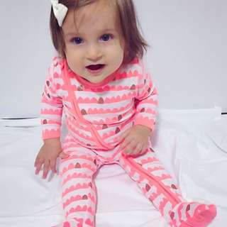 ✔️STOCK - MOUNTAIN PEACH PINK PREMIUM ZIPPER PJ NEWBORN BABY TODDLER GIRL PAJAMA ROMPER KIDS CHILDREN CLOTHING