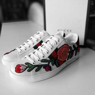 Authentic Gucci Ace Embroidered Low Top Sneakers
