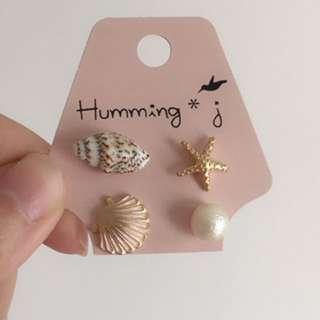 🎀現貨🎀夏日海星貝殼珍珠鋼針耳環