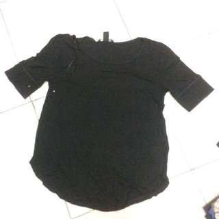 [H&M] Basic shirt black hitam