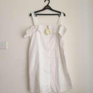 NEW Light & Salt Sabrina Blouse / Mini Dress White