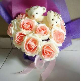 ❤Valentines Day Special❤ Cute Couple Teddy Bear Plushie Pink Roses Bouquet Flower for Gifts Valentines Day Mothers day Gifts ( 2 Teddy Bear )