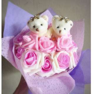 ❤Valentines Day Special❤ LED Dazzaling Light Cute Couple Teddy Bear Plushie Pink Roses Bouquet Flower for Gifts Valentines Day Mothers day Gifts ( 2 Teddy Bear )