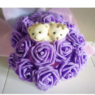 ❤Valentines Day Special❤ Cute Couple Teddy Bear Plushie Purple Roses Bouquet Flower for Gifts Valentines Day Mothers day Gifts ( 2 Teddy Bear )