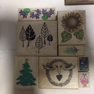 Rubber Stamps - Flower & Leaves